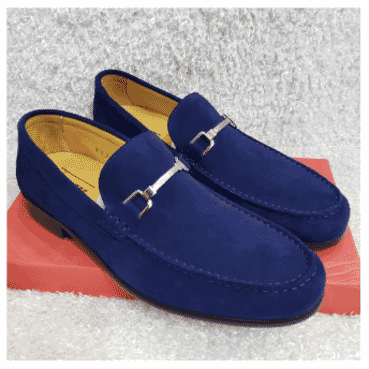 Blue Maestro Suede Loafer Shoe + A Free Happy Socks