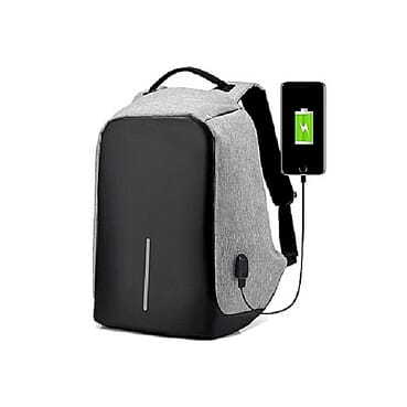Generic Anti-theft USB Backpack With USB Charging Port Travel Bag Waterproof - Grey