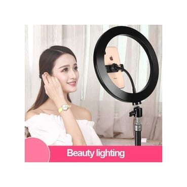 33CM LED Ring Light Dimmable For DSLR/Camera/Smartphone/Youtube/Makeup+2.1 Meter Tripod