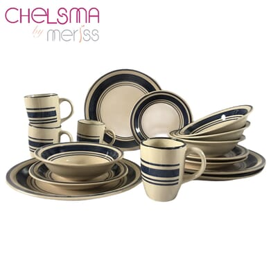 CHELSMA by Meriss 16 Pieces Dinnerset - Navy Blue and Milk