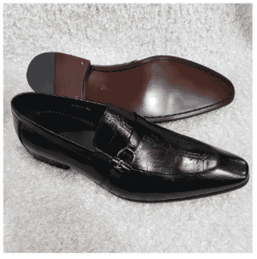 Black Cesare Paciotti Men's Loafer Shoe + A Free Happy Socks