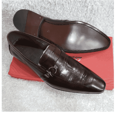 Brown Cesare Paciotti Croc Loafer Shoe + A Free Happy Socks