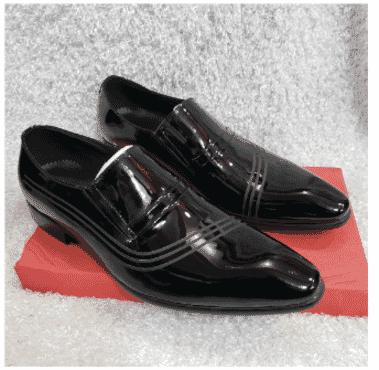 Patent Designed Men's Loafer Shoe + A Free Happy Socks