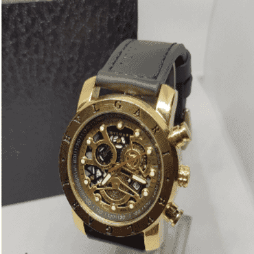 Bulgari Titanium Gold Faced Chronograph Wrist Watch