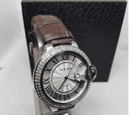 Cartier Studded Silver Faced Leather Wrist Watch