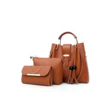 3In1 All Outfit Matching Shoulder PU Leather Female Handbag
