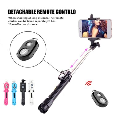 3 in 1 Wireless Bluetooth Selfie Stick for iphone/Android/Huawei Foldable Handheld Monopod Shutter Remote Extendable Mini Tripod