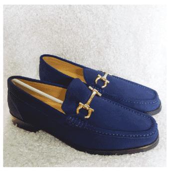 Blue Ferragamo Horsebit Loafer Shoe + A Free Happy Socks