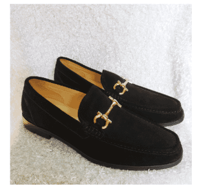 Black Suede Horse-bit Loafer Shoe + A Free Happy Socks