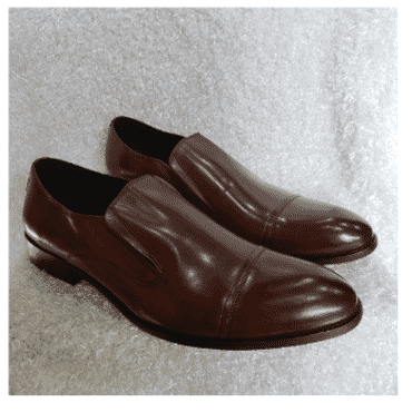 Brown Cap-toe Loafer Shoe + A Free Happy Socks
