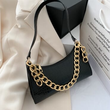 High-end New Retro Fashion Thick Chain Crocodile Pattern Female Underarm bag