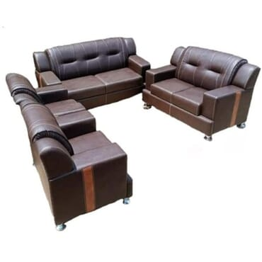 Side Stripe Leather Sofa