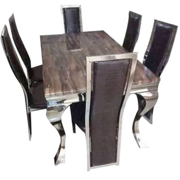 Silver Base Marble Top Dining Set