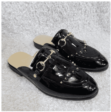 Patent Flap Monk Half Shoe