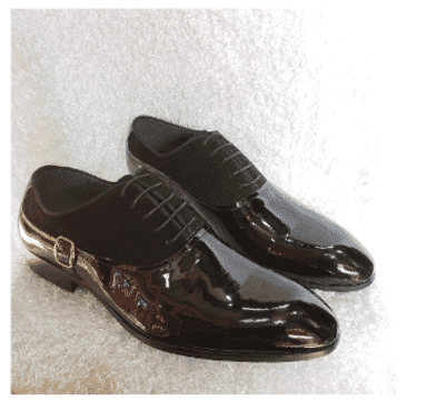 Patent & Suede Oxford Loafer Shoe + A Free Happy Socks