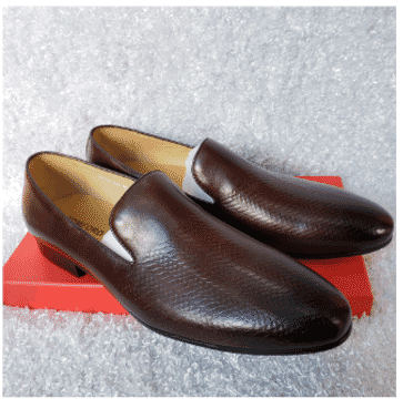 Dark Brown Men's Loafer Shoe + A Free Happy Socks
