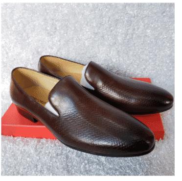 Dark Brown Men's Loafer Shoe + A Free Happy Socks