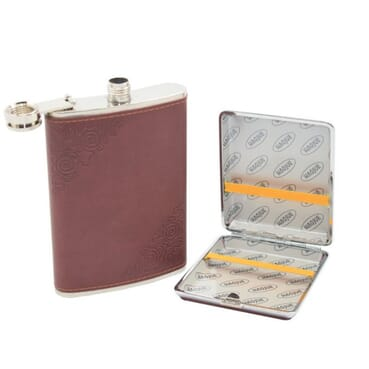 5 In 1 9oz Classy Men Stainless Steel Hip Flask