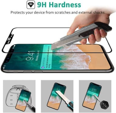 5D Full Coverage Screen Protector for iPhone X Tempered Glass (White)