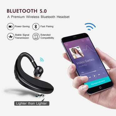 Bluetooth Headset SELIAN Wireless Bluetooth Earpiece Hands Free Wireless Earphones with Microphone and Mute Key for Business Office Driving Calling