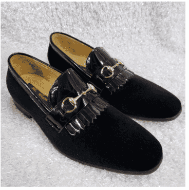 Black Velvet Horsebit Loafer Shoe + A Free Happy Socks