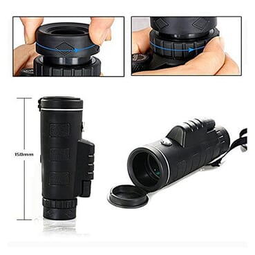 40 X 60 Zoom Long Distance Range Monocular Smartphone Telescope For Camping And Outdoor Filming With Compass And Phone Clip Designed For Android, IPhone And Apple Devices