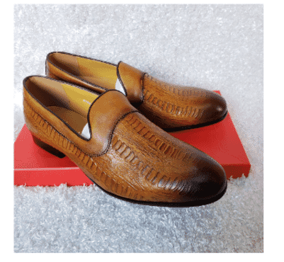 Brown Men's Loafer Shoe + A Free Happy Socks