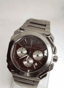 BVLGARI Silver Brown Faced Chronograph Wrist Watch