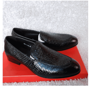 Black Croc Plain Loafer Shoe + A Free Happy Socks
