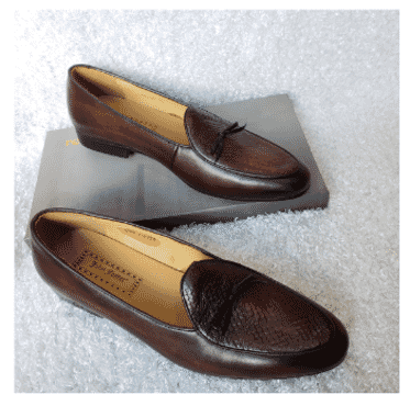Dark Brown Designed Loafer Shoe + A Free Happy Socks