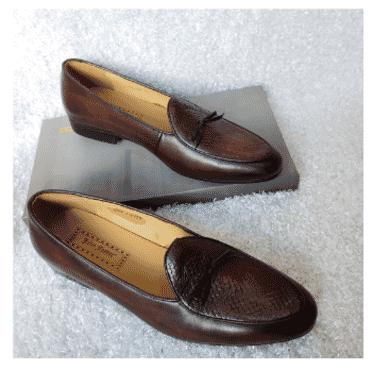 Dark Brown Designed Loafer Shoe + A Free Happy Socks