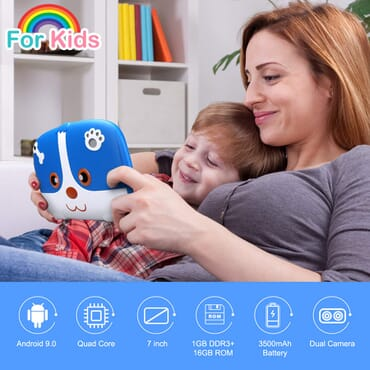 Excelvan Q738 7 Inch Kids Tablet, Android 9.0 1GB + 16GB, A50 Cortex-A7 Quad Core Educational Tablet, WiFi Dual Camera, Blue