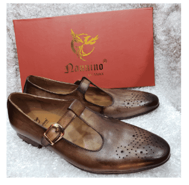 Brown Brogues Monk Strap Shoe + A Free Happy Socks