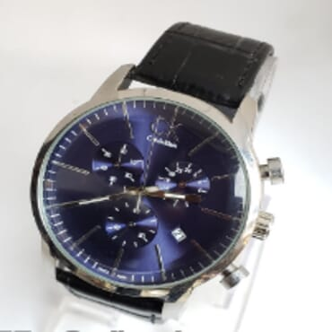 Calvin Klein Black Leather Chronograph Wrist Watch