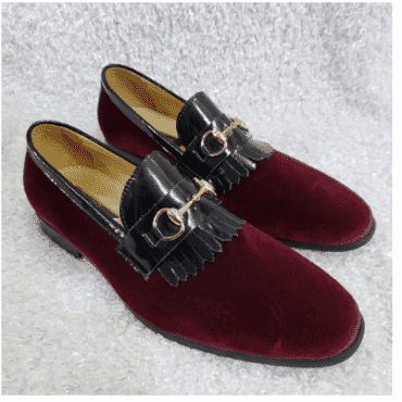 Wine Velvet Horsebit Loafer Shoe + A Free Happy Socks