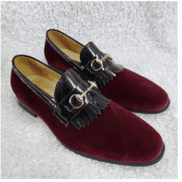 Wine Velvet Horsebit Loafer Shoe + A Free Happy Socks