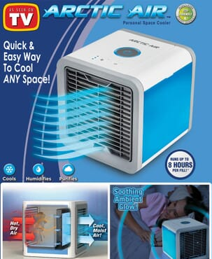 Mini Air Conditioner Cooler With LED Lights USB Air Humidifier Purifier White & Blue