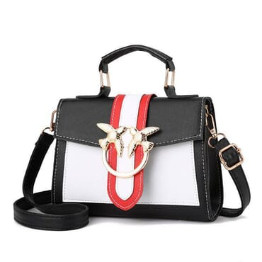 Two-pigeon Buckle Colour Block Sling Bag