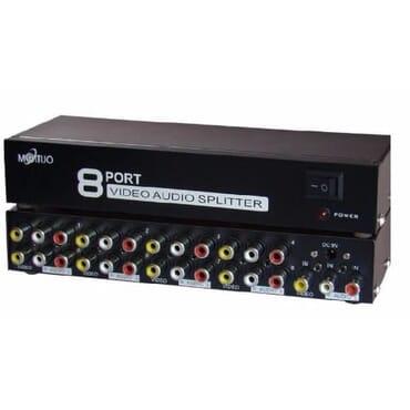 8 Port AV Splitter 1 in 8 Out 3 RCA Splitter,AV Audio Video Splitter for Cable Box DVD DVR Analog TV (1 in 8 Out Splitter)