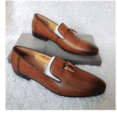 Brown Tassel Monk Loafer Shoe + A Free Happy Socks