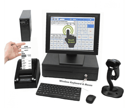 Hicom TOUCH SCREEN MONITOR + Desktop Computer + Cash Drawer + Receipt Printer + Barcode Scanner + POS Software + Mobile Report Alert