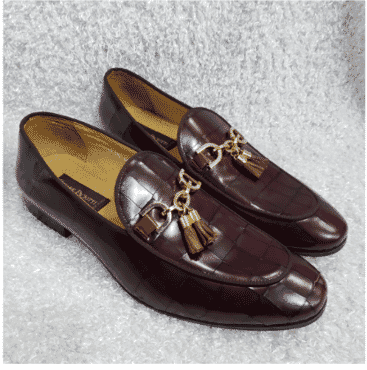 Wine Croc Tassel Loafer Shoe + A Free Happy Socks