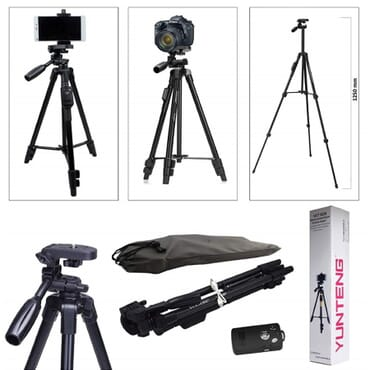 YUNTENG VCT-5208RM Aluminum Magnesium Alloy Leg Tripod Mount with Bluetooth Remote Control & Tripod Head & Phone Clamp for SLR Camera & Smartphones