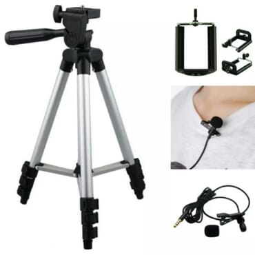Hotpro Tripod Stand Plus Phone Holder Plus Lavalier Clip Microphone