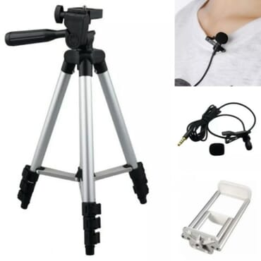 Hotpro Tripod Stand Plus Tablet & Phone Holder Plus Lavalier Clip Microphone