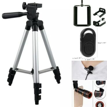 Hotpro Tripod Tablet & Phone Holder + 12x Zoom Lens + Clip Microphone