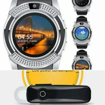 V8 Android Smart Watch With Sim&tf Cards Slot + M165 Bluetooth Headset - Silver