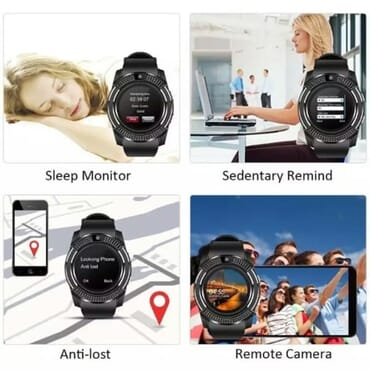 V8 Android Smart Watch With Sim & Tf Card Slot + M165 Bluetooth Headset - Black