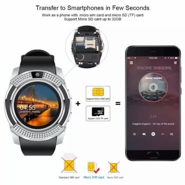 V8 Android Smart Watch + M165 Bluetooth Headset + 2gb Memory Card - Silver
