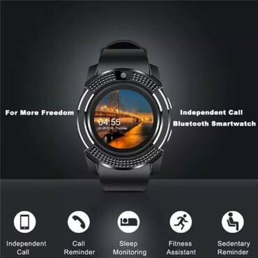 V8 Android Smart Watch + M165 Bluetooth Headset + 2gb Memory Card - Black
